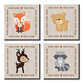 Woodland Creatures - Nursery Decor - 11 x 11 inches Kids Wall Art - Baby Shower Gift Ideas - Set of 4 Prints for Baby's Room
