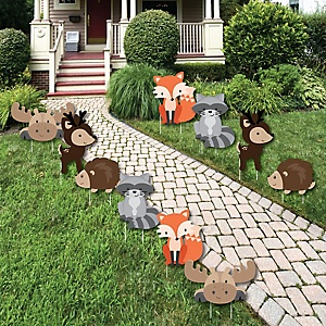 Woodland Creatures - Forest Animal Lawn Decorations - Outdoor Baby Shower or Birthday Party Yard Decorations - 10 Piece