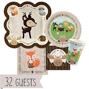 Woodland Creatures - Baby Shower Tableware Plates and Napkins - Bundle of 32