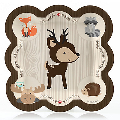 Woodland Creatures Baby Shower Dinner Plates 8 Ct