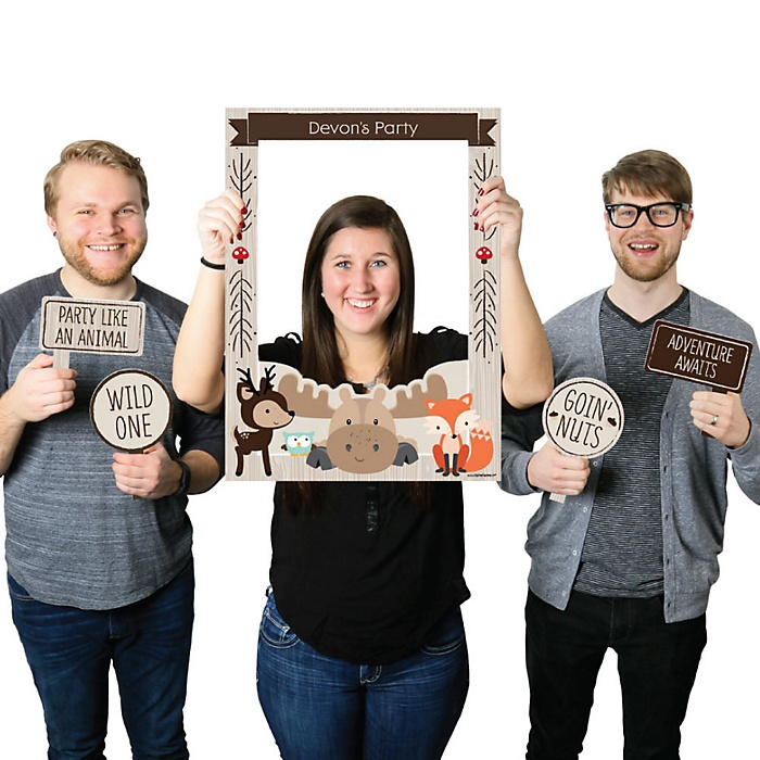 Woodland Creatures - Personalized Birthday Party or Baby Shower Selfie Photo Booth Picture Frame & Props - Printed on Sturdy Material
