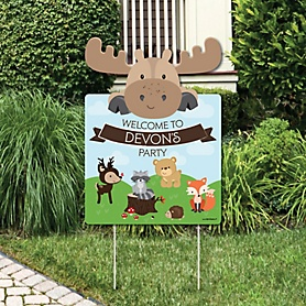 Woodland Creatures - Party Decorations - Birthday Party or Baby Shower Personalized Welcome Yard Sign