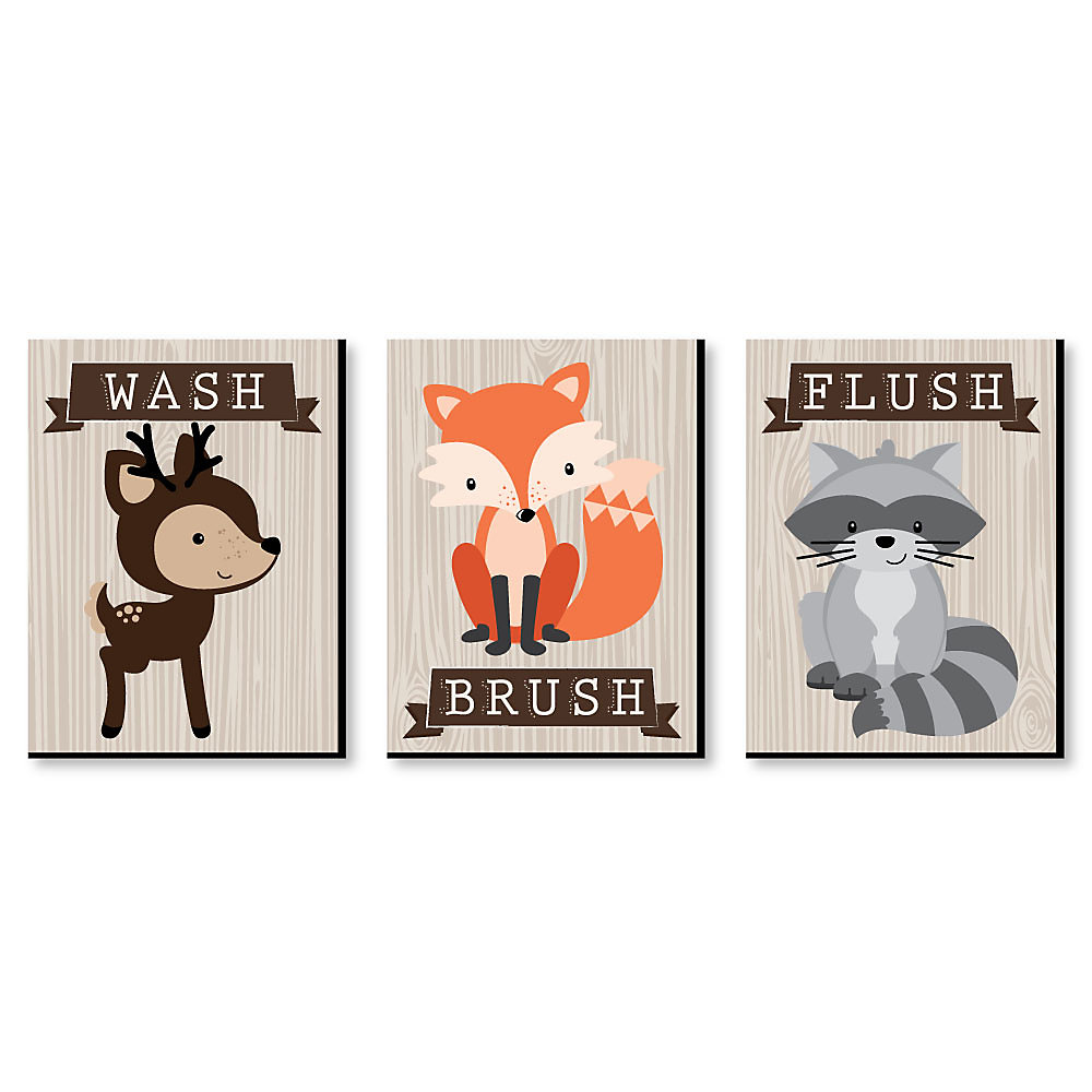 Woodland Creatures Kids Bathroom Rules Wall Art 7 5 X 10 Inches Set Of 3 Signs Wash Brush Flush