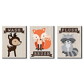 Woodland Creatures - Kids Bathroom Rules Wall Art - 7.5 x 10 inches - Set of 3 Signs - Wash, Brush, Flush