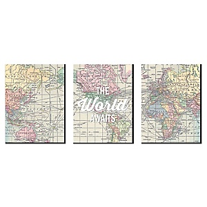 World Awaits - Nursery Wall Art, Kids Room Decor and Travel Map Home Decorations - 7.5 x 10 inches - Set of 3 Prints