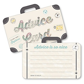 World Awaits - Suitcase Wish Card Travel Themed Graduation Party, Baby or Bridal Shower Activities - Shaped Advice Cards Game - Set of 20