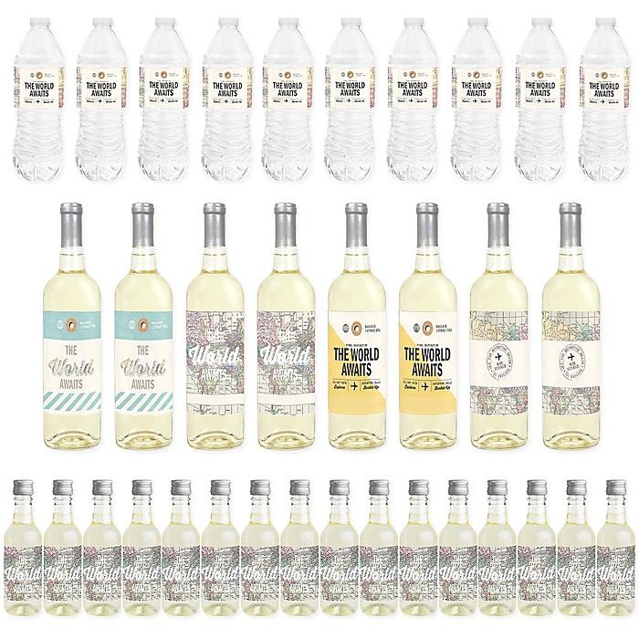 World Awaits - Mini Wine Bottle Labels, Wine Bottle Labels and Water Bottle Labels - Travel Themed Party Decorations - Beverage Bar Kit - 34 Pieces