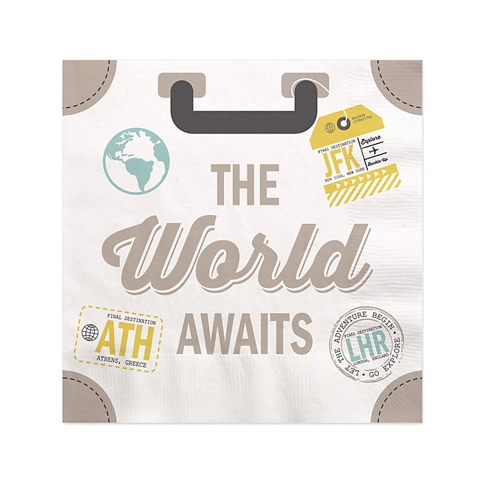 World Awaits - Travel Themed Party Cocktail Beverage Napkins - 16 ct