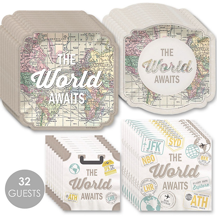 World Awaits - Travel Themed Party Tableware Plates and Napkins - Bundle for 32