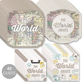 World Awaits - Travel Themed Party Tableware Plates and Napkins - Bundle for 48