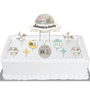 World Awaits - Travel Themed Party Cake Decorating Kit - Adventure Awaits Cake Topper Set - 11 Pieces