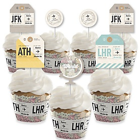 World Awaits - Cupcake Decorations - Travel Themed Party Cupcake Wrappers and Treat Picks Kit - Set of 24