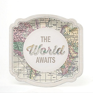 World Awaits - Travel Themed Party Dessert Plates - 16 ct