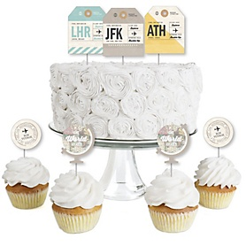 World Awaits - Dessert Cupcake Toppers - Travel Themed Party Clear Treat Picks - Set of 24