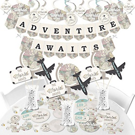 World Awaits - Travel Themed Graduation and Retirement Party Supplies - Banner Decoration Kit - Fundle Bundle