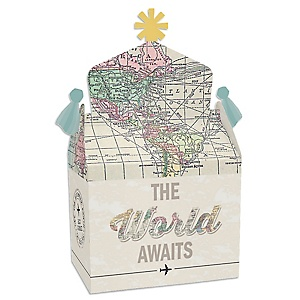 World Awaits - Treat Box Party Favors - Travel Themed Party Goodie Gable Boxes - Set of 12
