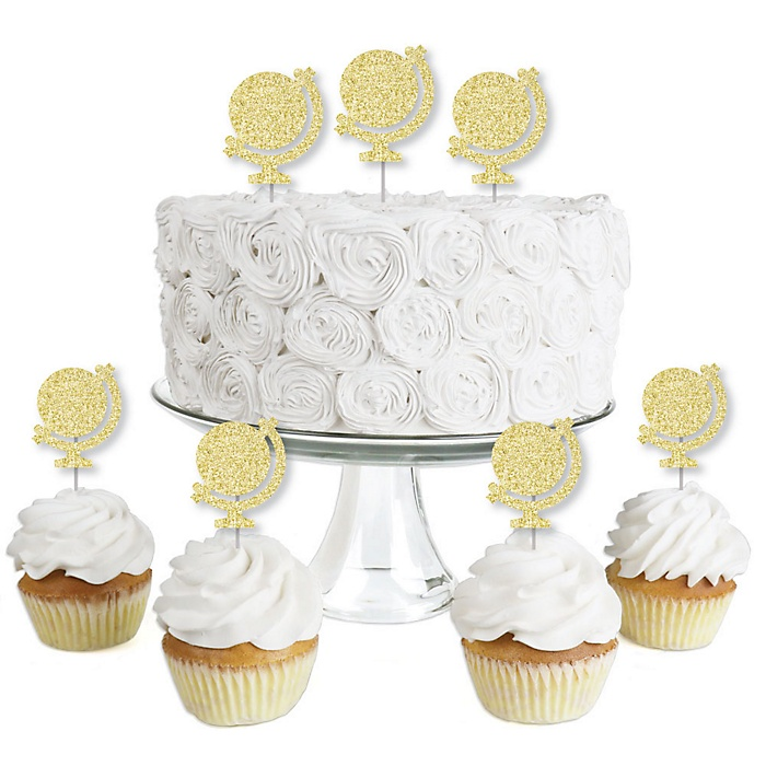 Gold Glitter World Globe - No-Mess Real Gold Glitter Dessert Cupcake Toppers - Travel Themed Party Clear Treat Picks - Set of 24