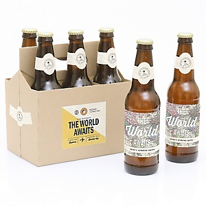 World Awaits - Decorations for Women and Men - 6 Beer Bottle Label Stickers and 1 Carrier - Travel Themed