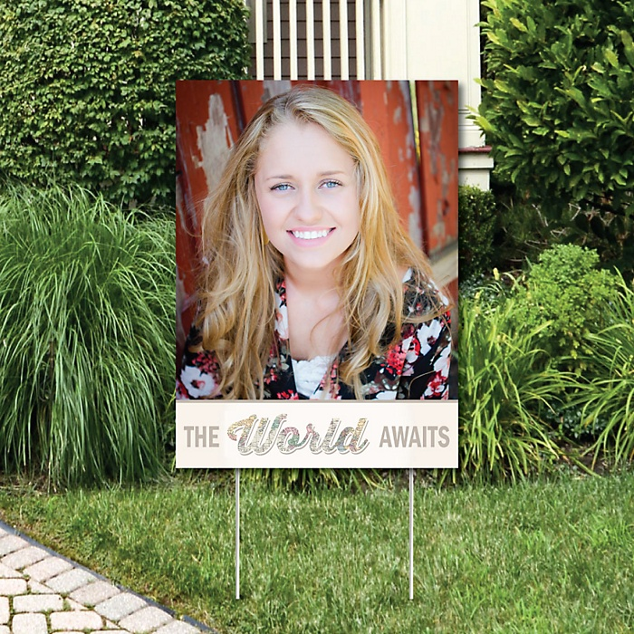 World Awaits - Photo Yard Sign - Travel Themed Graduation Party Decorations
