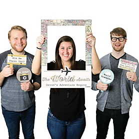 World Awaits - Personalized Graduation Party Selfie Photo Booth Picture Frame & Props - Printed on Sturdy Material