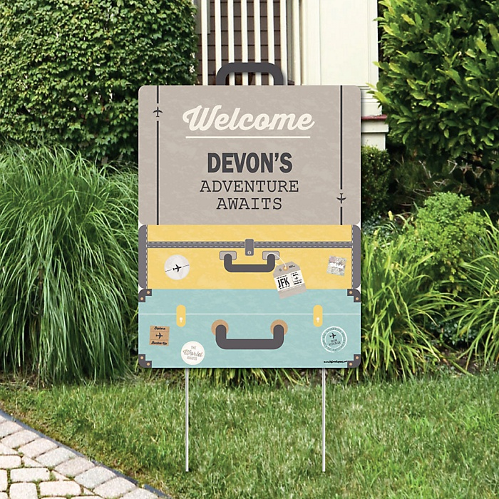 World Awaits - Party Decorations - Travel Themed Party Personalized Welcome Yard Sign