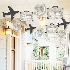 Hanging World Awaits - Outdoor Travel Themed Graduation Party Hanging Porch & Tree Yard Decorations - 10 Pieces