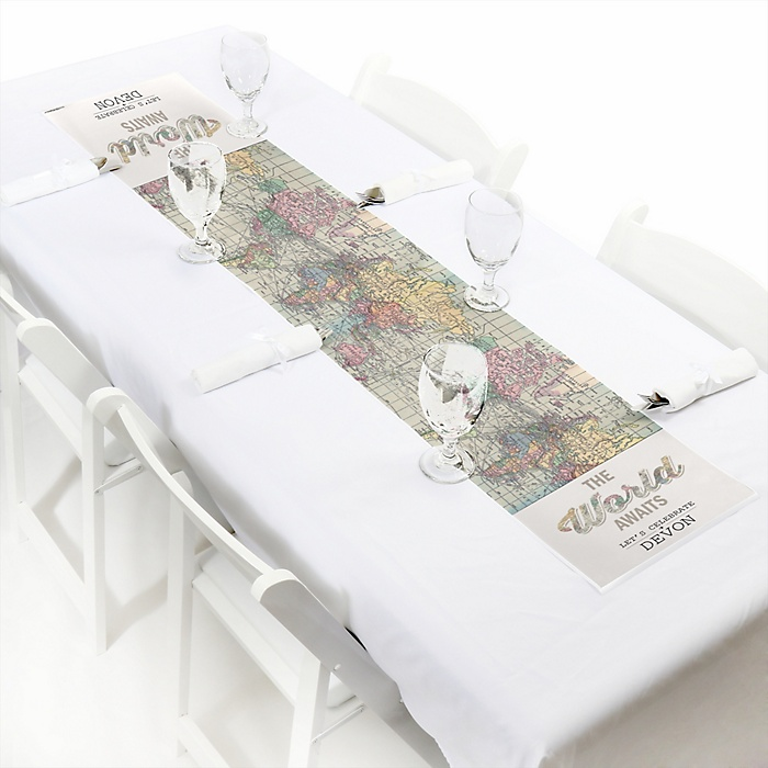 World Awaits - Personalized Graduation Party Petite Table Runner