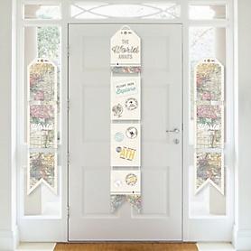 World Awaits - Hanging Vertical Paper Door Banners - Travel Themed Party Wall Decoration Kit - Indoor Door Decor