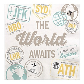 World Awaits - Travel Themed Party Luncheon Napkins - 16 ct