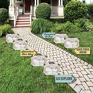 World Awaits - Map Party Lawn Decorations - Outdoor Travel Themed Party Yard Decorations - 10 Piece