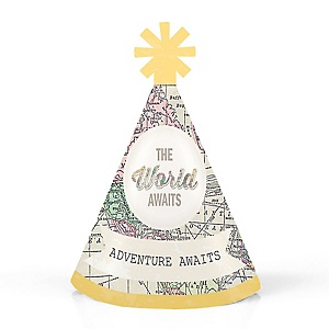 World Awaits - Personalized Travel Themed Mini Cone Birthday Party Hats - Small Little Party Hats - Set of 10