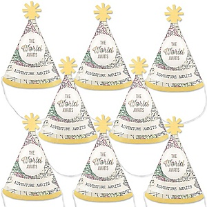 World Awaits - Personalized Travel Themed Mini Cone Birthday Party Hats - Small Little Party Hats - Set of 8