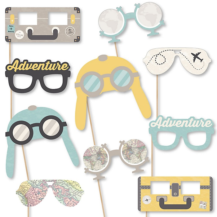 World Awaits Glasses and Masks - Travel Themed Paper Card Stock Graduation Party Photo Booth Props Kit – 10 Count
