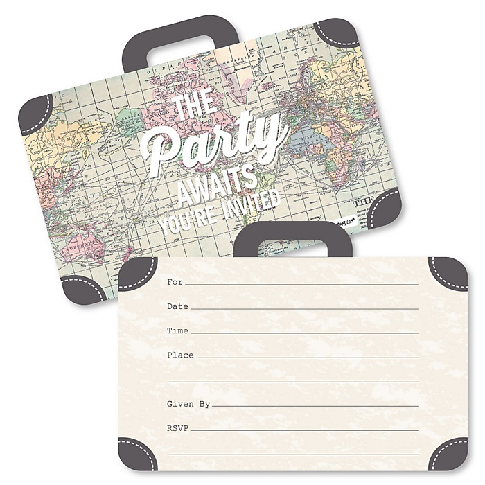 World Awaits - Shaped Fill-In Invitations - Travel Themed Invitation Cards with Envelopes - Set of 12