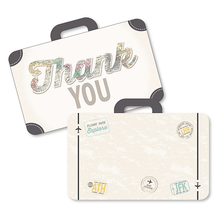 World Awaits - Shaped Thank You Cards - Travel Themed Party Thank You Note Cards with Envelopes - Set of 12