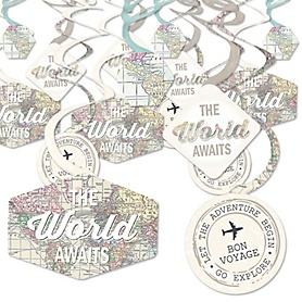 World Awaits - Travel Themed Party Hanging Decor - Party Decoration Swirls - Set of 40