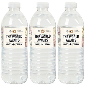 World Awaits - Travel Themed Party Water Bottle Sticker Labels - Set of 20