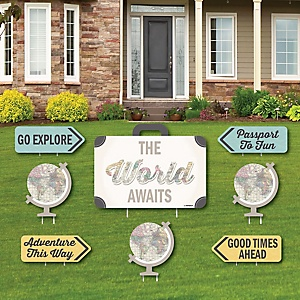 World Awaits - Yard Sign & Outdoor Lawn Decorations - Graduation Party Yard Signs - Set of 8