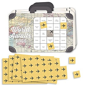 World Awaits - Bingo Cards and Markers - Travel Themed Party Shaped Bingo Game - Set of 18