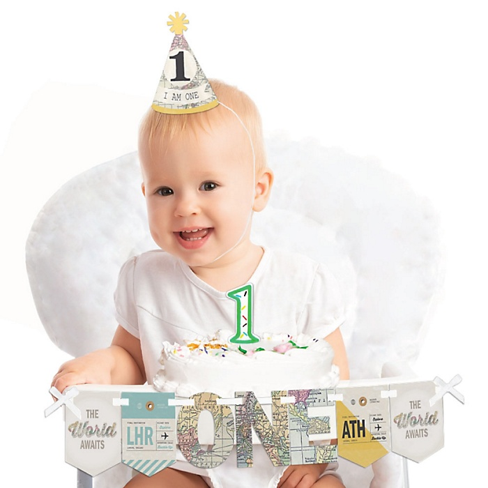 World Awaits 1st Birthday - First Birthday Boy or Girl Smash Cake Decorating Kit - High Chair Decorations