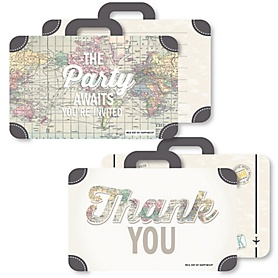 World Awaits - 20 Shaped Fill-In Invitations and 20 Shaped Thank You Cards Kit - Travel Themed Party Stationery Kit - 40 Pack
