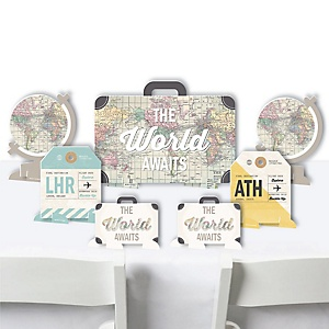 World Awaits - Travel Themed Party Centerpiece Table Decorations - Tabletop Standups - 7 Pieces