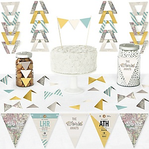 World Awaits - DIY Pennant Banner Decorations - Travel Themed Party Triangle Kit - 99 Pieces