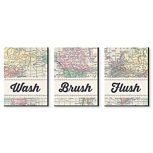 World Awaits - Travel Themed Kids Bathroom Rules Wall Art - 7.5 x 10 inches - Set of 3 Signs - Wash, Brush, Flush