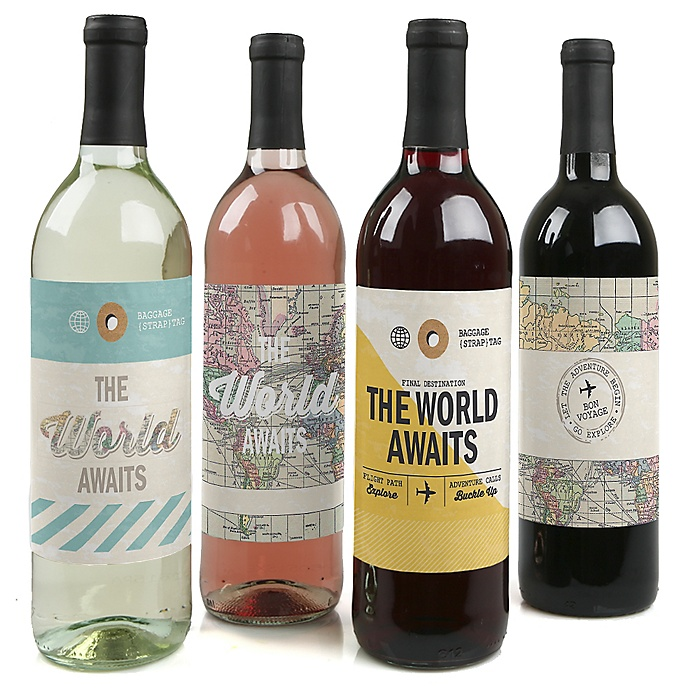 World Awaits - Travel Themed Decorations for Women and Men - Wine Bottle Label Stickers - Set of 4