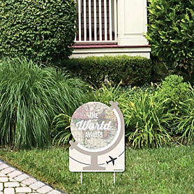 World Awaits - Outdoor Lawn Sign - Travel Themed Party Yard Sign - 1 Piece