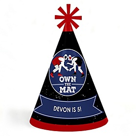 Own The Mat - Wrestling - Personalized Cone Wrestler Happy Birthday Party Hats for Kids and Adults - Set of 8 (Standard Size)