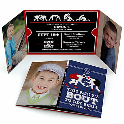 Own the mat wrestling personalized wrestler party photo own the mat wrestling personalized wrestler party photo invitations set of 12 filmwisefo