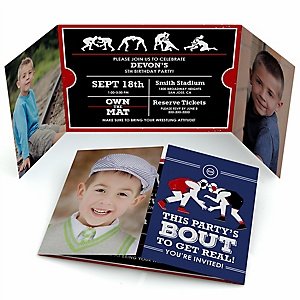 Own The Mat - Wrestling - Personalized  Wrestler Party Photo Invitations - Set of 12