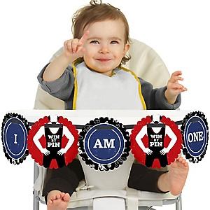 Own The Mat - Wrestling 1st Birthday - I am One - First Birthday High Chair Birthday Banner